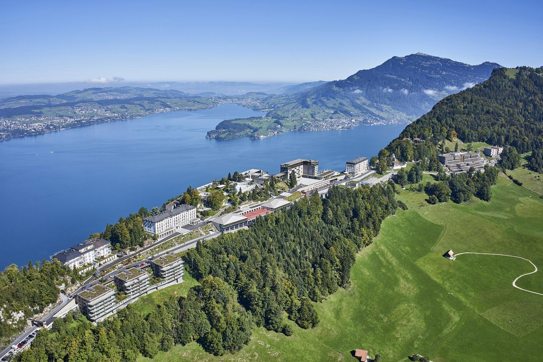 Aerial view of the entire Bürgenstock Resort Lake Lucerne